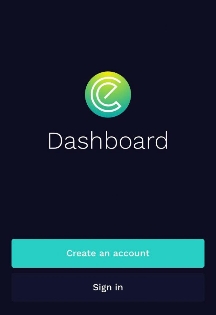 Login screen EnergyCoin Dashboard App